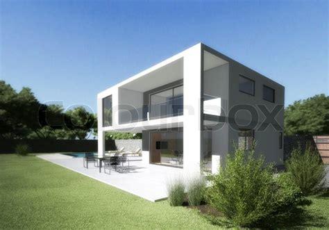 modern house villa  terrace  stock photo