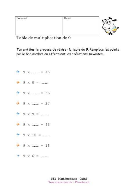 exercice corrig 233 pour le ce1 table de multiplication de 9