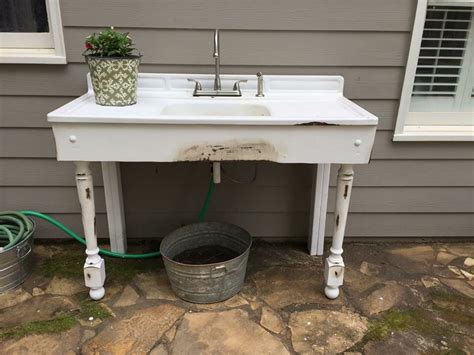 Great Outdoor Sink From A Vintage Porcelain Sink. Hook Up Coffee Tables In Argos Decorate Table Ideas Black Girl Falls Off Pine For Sale Low Level Glass And Stone Discount With Hairpin Legs