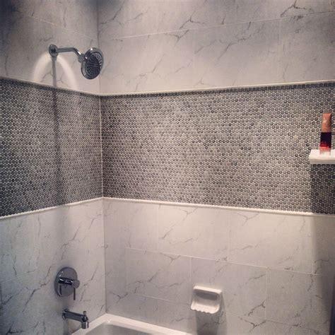 porcelain penny  mosaic tile   shower