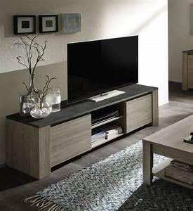 Meuble Chene Gris : meuble tv couleur ch ne gris et imitation ardoise contemporain beryl 2 ~ Teatrodelosmanantiales.com Idées de Décoration