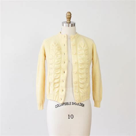 yellow cardigan sweater pale yellow leaf design vintage cardigan sweater by