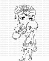 Coloring Digital Flapper Stamp Getcolorings Pages sketch template