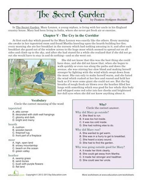 reading comprehension the secret garden reading