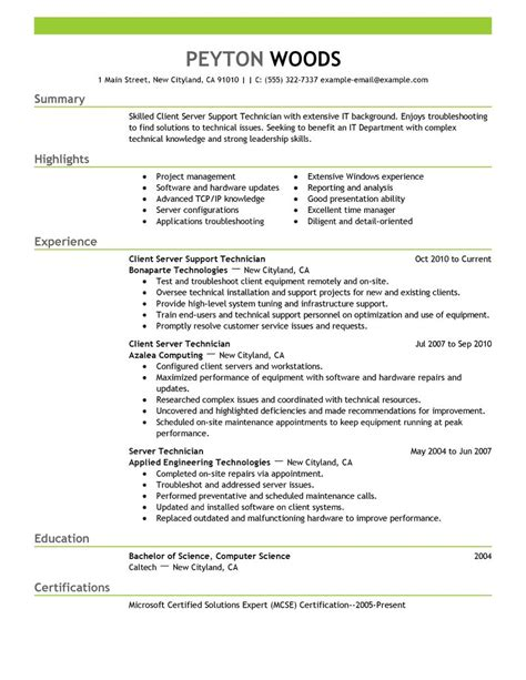 Nail Tech Resume by Client Server Technician Resume Exles It Resume