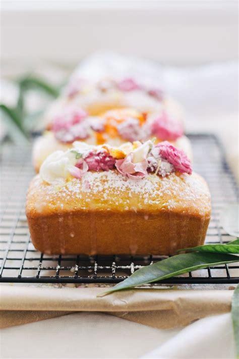 top   lemon loaf  edible flowers baking
