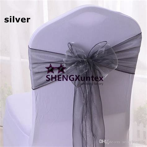 silver color organza chair sash chair bow for wedding