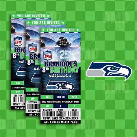 seattle seahawks sports ticket style party invitations