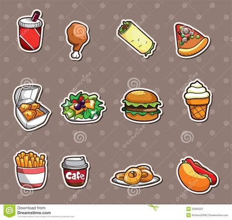 cuisine stickers fast food stickers stock vector image of icon dessert