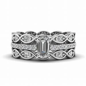 emerald cut sapphire and diamond channel wedding set in With emerald and diamond wedding ring sets