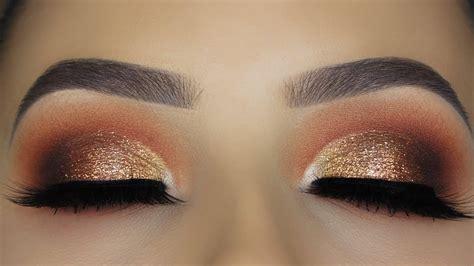 copper glitter eye makeup tutorial youtube