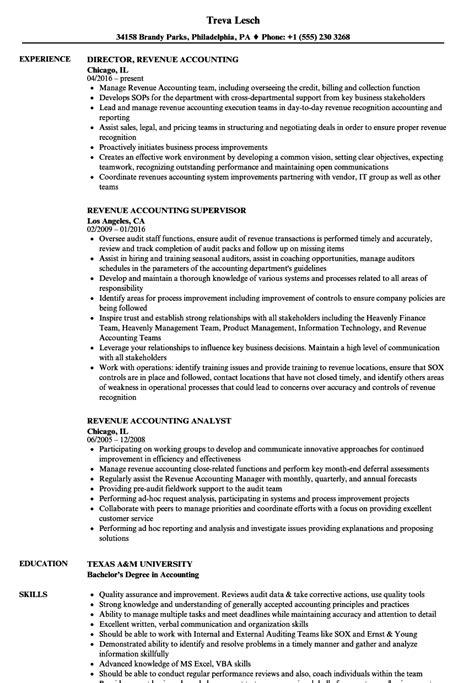 revenue accounting resume samples velvet jobs