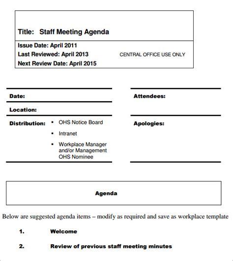 staff meeting agenda template 5 staff meeting agenda sles sle templates