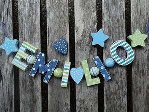 Buchstaben Deko Kinderzimmer : emilio namenskette shabby chic holz buchstaben holzbuchstaben taufe name deko kinderzimmer ~ Orissabook.com Haus und Dekorationen