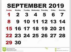 September Month Calendar 2019 English USA Stock Vector