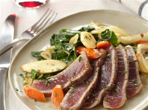 seared tuna  spinach  root vegetables recipe