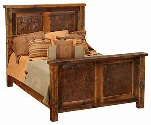reclaimed barn wood bed with faux copper inset california With barn wood king size bed