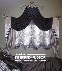 Silver and black swag curtains french bedroom curtains for Curtains for bedroom windows with designs 2015
