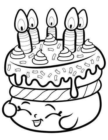 Cake Wishes Shopkin coloring page Free Printable
