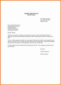 Rejection Letter Employment Cover Letter Example