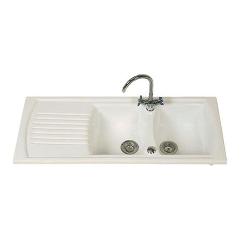 Clearwater Sonnet White Ceramic Double Bowl Sink With