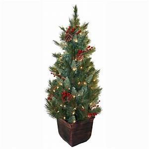 General Foam 4 ft Pre-Lit Pine Artificial Christmas Tree