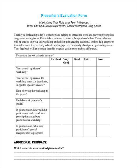 workshop evaluation form templates