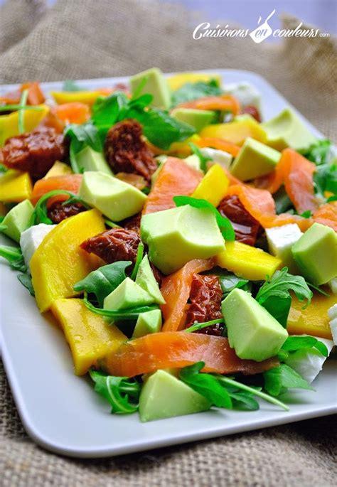 recettes de cuisine simple et rapide salade au saumon fumé à la mangue cuisinons en couleurs
