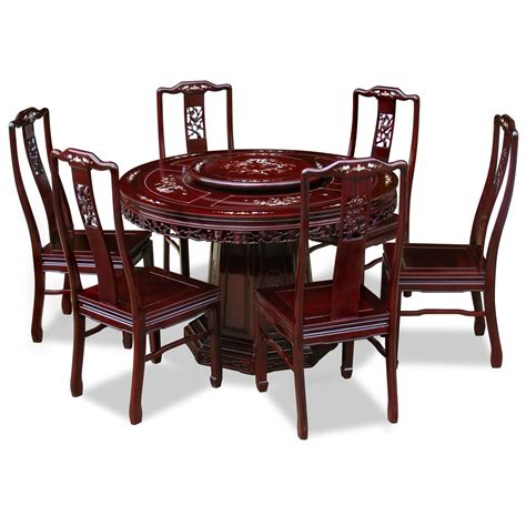 48in rosewood flower and bird motif dining table