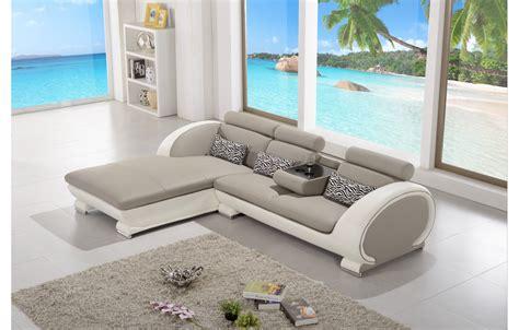 canape cuir blanc angle canapé d 39 angle moderne en cuir elios gris et blanc