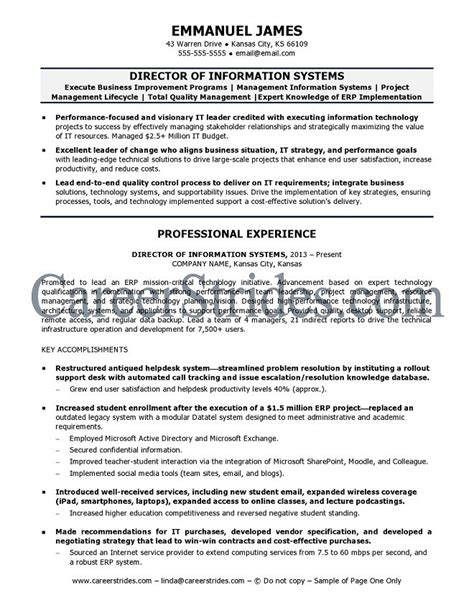 Information System Resume by Information Systems Resume Sle Exle