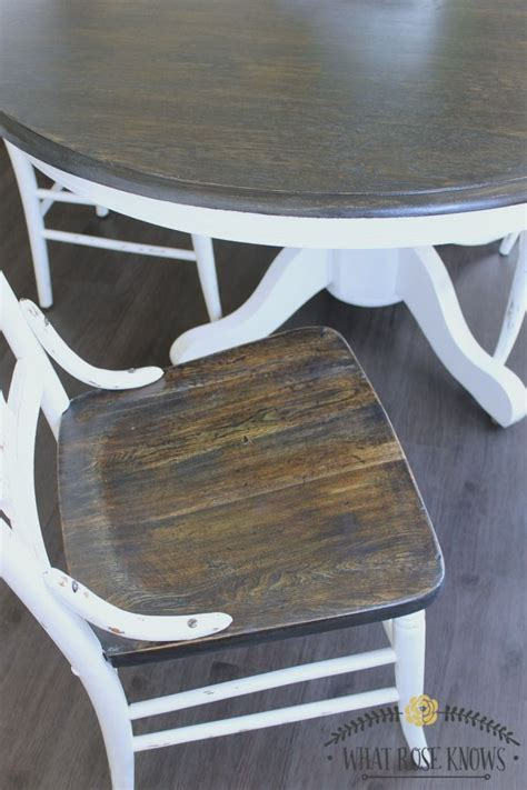 Painted Kitchen Furniture by Farmhouse Style Painted Kitchen Table And Chairs Makeover