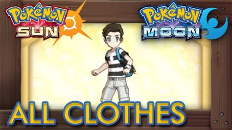 Pokémon Sun and Moon   All Clothes Male   YouTube