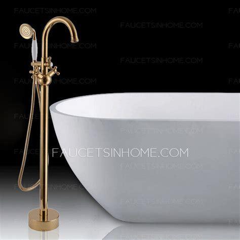 Vintage Freestanding Gold Bathtub Cross Handle Shower Faucet