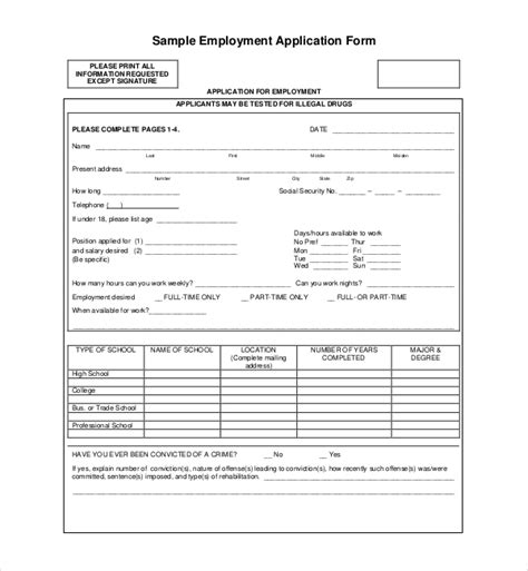 sample employment application forms   ms