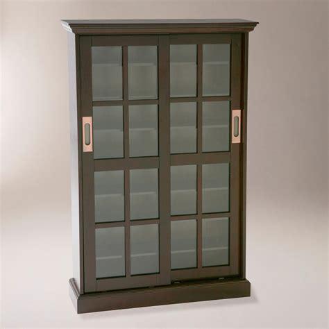 sliding door media cabinet espresso sliding door storage cabinet world market