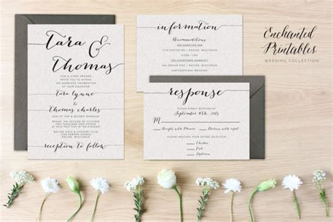 DIY Printable Wedding Invitation Set, Wedding Invitation Suite With Invite, RSVP And Detail Card