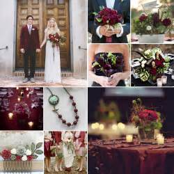 green and burgundy weddings