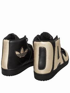 jeremy scott for adidas high top gold letter sneakers With adidas letters shoes