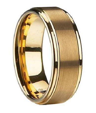 men s wedding band in gold plated tungsten traditional 8mm