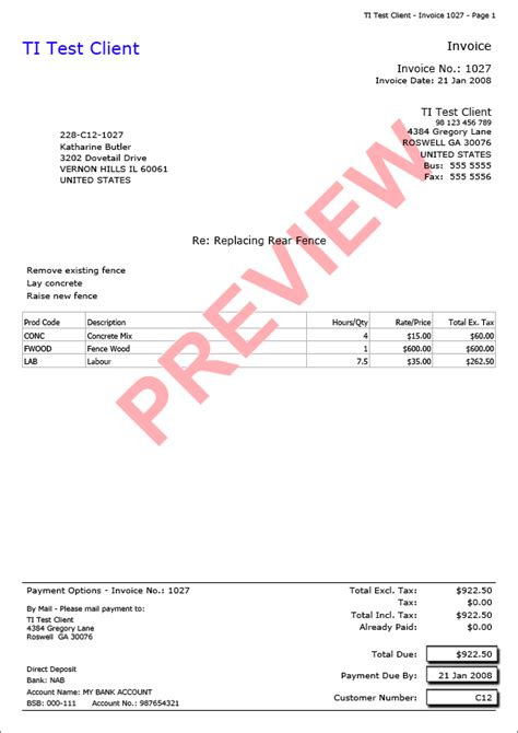 australian invoice template invoice