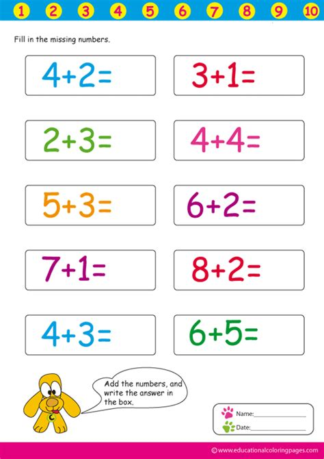 worksheets  educational coloring pages