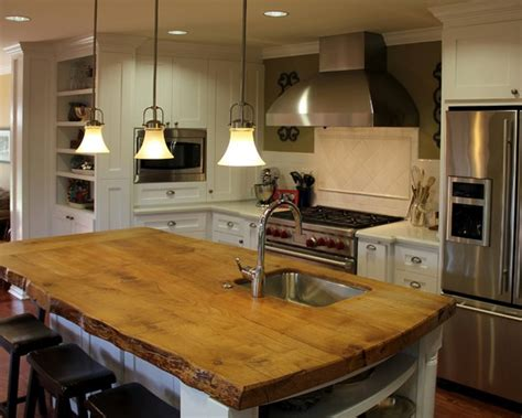 kitchen island with wood top five inc countertops 3 industrial style