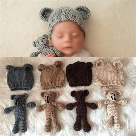 cute set photography prop photo crochet bear  hat set