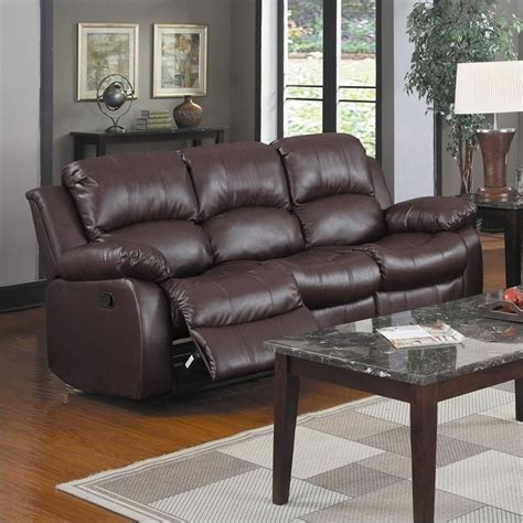 homelegance cranley reclining bonded leather sofa