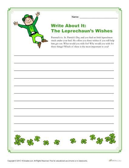 st patricks day writing prompt  leprechauns wishes