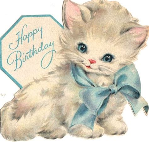 cute kitten birthday card bh  vintage birthday cards