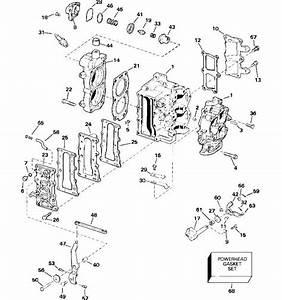 Johnson Cylinder  U0026 Crankcase Parts For 2007 15hp J15rtsur