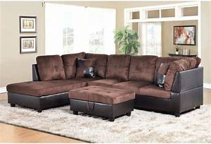 f107a dark brown microfiber faux leather sectional set With chocolate brown leather sectional sofa with 2 storage ottomans