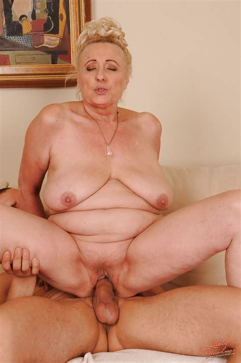 Slutty Granny With Shaved Cunt Sucks And Fucks A Hard